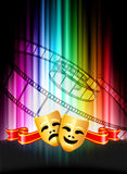 Comedy and Tragedy Masks on Abstract Spectrum Background.  Royalty Free Stock Image