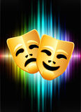 Comedy and Tragedy Masks on Abstract Spectrum Background Royalty Free Stock Photos
