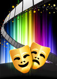 Comedy and Tragedy Masks on Abstract Spectrum Background.  Royalty Free Stock Photo