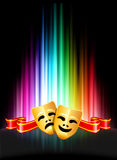 Comedy and Tragedy Masks on Abstract Spectrum Background Stock Photo
