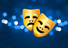 Comedy and tragedy masks on blue glow background Stock Photos