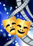 Comedy and tragedy masks with film reel background. Original Vector Illustration: comedy and tragedy masks with film reel blue internet background Royalty Free Stock Photography