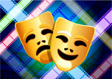 Comedy and tragedy masks on film reel background. Original Vector Illustration: comedy and tragedy masks on multi color film reel background Stock Photos