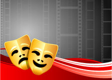 Comedy and Tragedy Masks on Film Reel Background Stock Photography