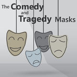 Comedy and tragedy masks. Illustration of comedy and tragedy masks royalty free illustration