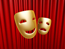 Comedy and tragedy masks over red curtain. Golden comedy and tragedy masks over red curtain on stage Royalty Free Stock Images