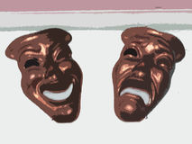 Comedy Tragedy Opera Masks. Pair of comedy tragedy opera masks Royalty Free Stock Photos