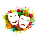 Comedy and tragedy simple masks for Carnival on colorful grunge Royalty Free Stock Image