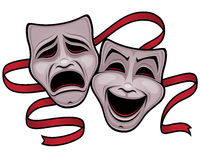 Comedy and Tragedy Theater Masks. Vector illustration of comedy and tragedy theater masks with a red ribbon vector illustration