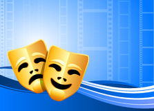 Comedy and tragedy theater masks background Stock Photo
