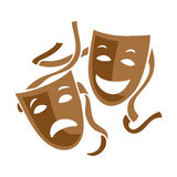 Comedy and tragedy theater masks illustration. Comedy and tragedy two brown theater masks with straps illustration Stock Images