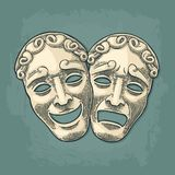 Comedy and tragedy theater masks. Vector engraving vintage black illustration. Comedy and tragedy theater masks. Vector engraving vintage black and beige Stock Photo