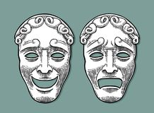Comedy and tragedy theater masks. Vector engraving vintage black illustration. Isolated on turquoise background with shadow Stock Photography