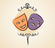 Comedy and tragedy theater masks. Vector illustration in vintage colors Stock Photography