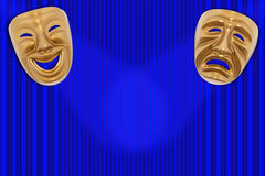 Theatrical mask. Comedy and Tragedy theatrical mask on a curtain Royalty Free Stock Photos