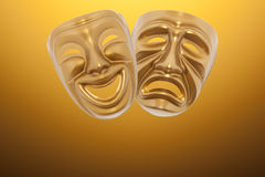 Theatrical mask. Comedy  and Tragedy theatrical mask on a curtain Stock Photos