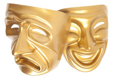 Comedy and Tragedy theatrical mask. Isolated on a white background Stock Images