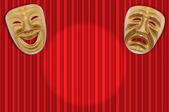 Theatrical mask. Comedy  and Tragedy theatrical mask on a red curtain Stock Photography