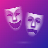 Comedy and tragedy theatrical masks Stock Photos
