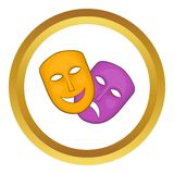 Comedy and tragedy theatrical masks vector icon Royalty Free Stock Photography