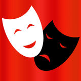 Comedy and tragedy theatrical masks. Vector Royalty Free Stock Image
