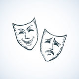 Comedy and tragedy theatrical masks. Vector illustration Stock Images