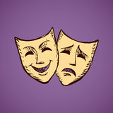 Comedy and tragedy theatrical masks. Vector illustration Stock Image