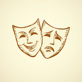 Comedy and tragedy theatrical masks. Vector illustration Stock Photography