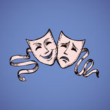 Comedy and tragedy theatrical masks. Vector illustration. Two ancient traditional greek game human masks costume  on white background. Freehand outline ink hand Stock Image