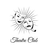 Comedy and tragedy theatrical masks. Vector Illustration  On White Stock Photography