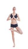 Comely junge Frau, die das Meditieren an der Kamera aufwirft stockbild