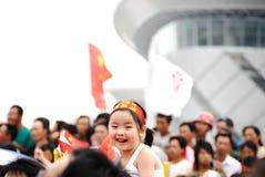 Comemoração bonito da menina olímpica Foto de Stock Royalty Free