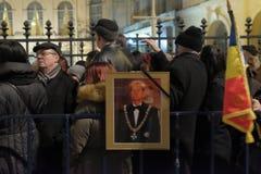 Comemoração do rei Mihai em Royal Palace em Bucareste, Romênia Fotografia de Stock Royalty Free