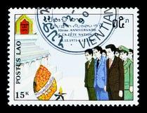 Comemoração, 15o aniversário do serie da república do ` s dos povos, cerca de 1990 Imagem de Stock Royalty Free