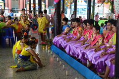 Comemora o festival de Songkran no estilo de Tailandês-segunda-feira Fotografia de Stock