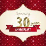 Comemorando 30 anos de aniversário Estilo dourado Vetor Fotos de Stock Royalty Free