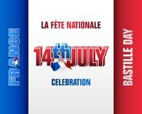 Comemorando 14o julho, dia nacional de França, dia de Bastille Foto de Stock