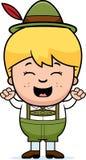 Comemorando o menino dos Lederhosen dos desenhos animados Imagens de Stock