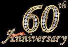 Comemorando o sinal dourado do 60th aniversário com diamantes, vetor Imagem de Stock Royalty Free