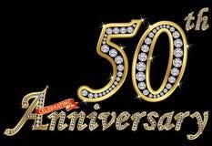 Comemorando o sinal dourado do 50th aniversário com diamantes, vetor Imagens de Stock Royalty Free