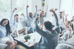 Comemorando o sucesso Imagens de Stock