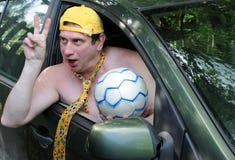 Comemorando a vitória do futebol Imagem de Stock Royalty Free
