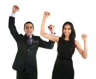 Comemoração asiática da mulher do homem de negócios e de negócio Foto de Stock Royalty Free