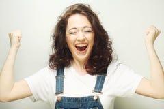 comemoração ectática feliz da mulher sendo um vencedor Fotografia de Stock