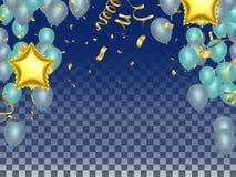 Comemore balões e balões da estrela Elemen da celebração do feriado ilustração do vetor