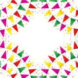 Comemore a bandeira Bandeiras do partido com confetes Imagem de Stock