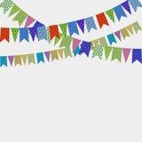 Comemore a bandeira da decoração Grupo da coleção das bandeiras do triângulo do festival do partido Decorações do carnaval Fotografia de Stock