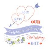 Comemore connosco nosso cartaz festivo do dia do casamento ilustração do vetor