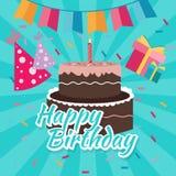 Comemore do ícone colorido liso dos cumprimentos do vetor da ilustração do bolo do feliz aniversario a cor brilhante ilustração royalty free