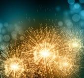 Comemore fogos-de-artifício pequenos do chuveirinho do partido Vetor Imagem de Stock Royalty Free